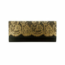 Black & Gold Lace Clutch - Purse Handbag