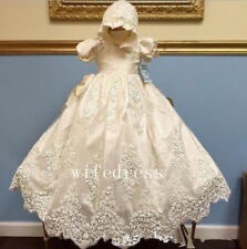 White / Ivory Baby Girl Baptism Christening Gown Hat Lace Beads Dress Heirloom