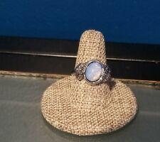 Vintage Boho Silvertone Oval Fire Opal Ring Size 9