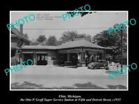 OLD LARGE HISTORIC PHOTO OF FLINT MICHIGAN, FORD HI SPEED GAS STATION c1935