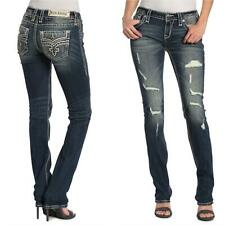 Rock Revival Womens Priya Distressed Bling Embellished Straight Leg Jeans NEW