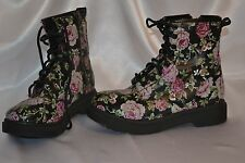 ,Mossimo  Lace Up combat Boots, Size 7 black floral pink  lace up zip side