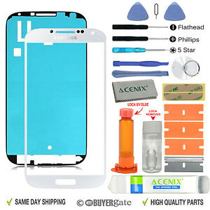 Samsung Galaxy S4 Front Glass lens Screen Replacement Repair Kit WHITE +UV Glue