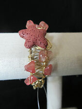W Stones & Beads Fashion Wire & Stone Bracelet Beige, Coral, or Turquoise