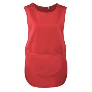 RED, Pocket Plain Colour Catering Cleaning Tabard Apron Overall, SIZE, SMALL