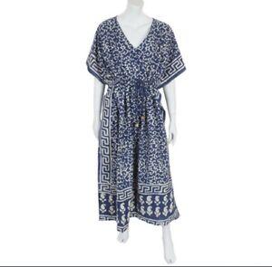 Maxi Dress Kaftan blue drawstring cotton beach cover up 8 10 12 14 Fair Trade