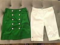 Lot of 2 JM COLLECTION Capri White Pants 8P Sharagano Green Button Skirt 4 S M