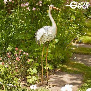 Garden Gear Metal Heron Animal Ornament Outdoor Patio 87cm Bird Sculpture Decor