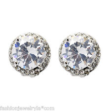 Round Silver Clip On Earrings with Cubic Zirconia