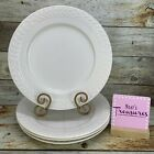 Gibson Everyday White Embossed Laurel Leaf Oven Safe Dinner Plates Set of Four  photo