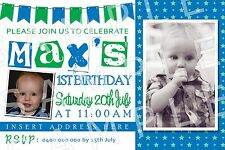 Personalised Boys Photo Bunting Birthday Party Invite Invitation