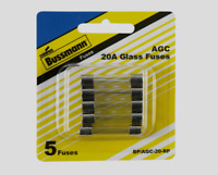 "Bussmann Buss 20 amp AGC Automotive Glass Fuse Assortment 1/4"" 5pk BP/AGC-20-RP"