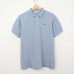 Y49 Vtg Lacoste Chemise Polo Mens Blue Short Sleeve Cotton Shirt Size 5 L