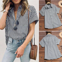 Women's Short Sleeve Casual Summer T-Shirt Tops Buttons Down Plaid Check Blouse
