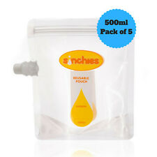 Sinchies 500ml Reusable Food Pouches BPA Free - Pack of 5 Free Postage