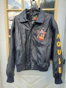 Walt Disney Company Studios Mickey Mouse Size Medium Black Leather Jacket