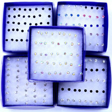 100 Pairs 3-6mm Multicolor Round Rhinestone Plastic Hypoallergenic Stud Earrings