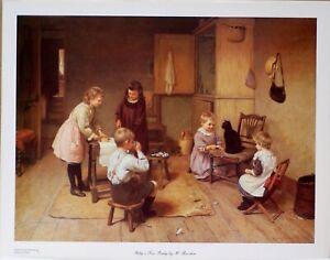 "CAT KITTEN CHILDREN Fine Art Print ""Kitty's Tea Party"" - Harry Brooker Post Free"