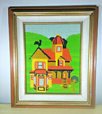 Stunning Vintage Framed Farmhouse 20 x 17 Needlepoint • Complete