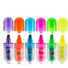 Resaltador Marcador Perfumado Bolígrafos Oficina Escuela Niños Pack Conjunto de 6 diseño de fruta