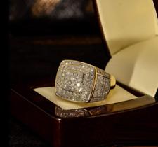 Men's Diamond Wedding Band Ring 1.50 Ct Round Cut Solid 14K Yellow Gold Finish