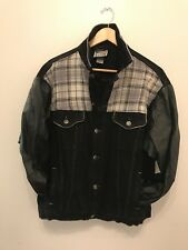 Rag Union / Leather Denim Jacket / Size L / Black with Check