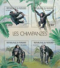 Chimpanzees monkeys fauna Burundi m/s Sc.1194 MNH #BUR12611a