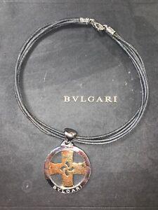 BVLGARI / BULGARI Two-Tone Tondo Cross 18k Yellow Gold & Steel Pendant Necklace