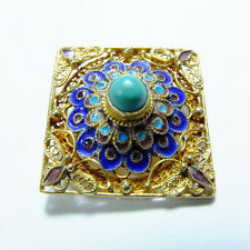 Fine Vintage Chinese Silver & Gold, Enamel & Turquoise Brooch Marked 925