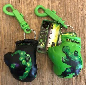 Incredible Hulk Boxing Glove Bag Clip Keychains - Black & Green - Marvel