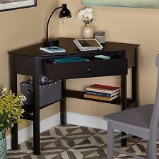 Black Corner Writing Wood Desk Sturdy Compact Storage Drawer Secretary Shelf