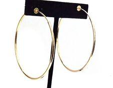 CLIP-ON EARRINGS GOLD TONE HOOP EARRINGS SIMPLE THIN 2 INCH HOOPS NON PIERCED