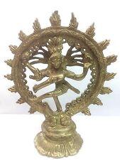 Hindu Lord Shiva Nataraja Statue Lord of Dance Brass Metal Miniature Figure Deco