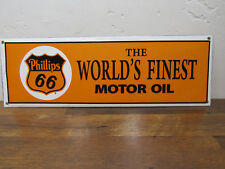 Vintage Style  16.5 x 7 Porcelain EnamelPhillips 66 World's Finest Moto Oil Sign