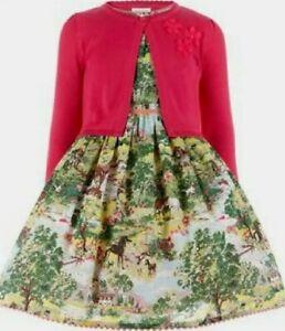 Monsoon Girls Day Dream Countryside Design Dress And Cardigan Set Age 11 Bnwt