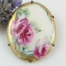 Antique Vintage Pretty Hand Painted Pink Flower BROOCH Cameo style 'C' Clasp