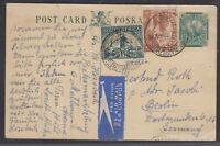South Africa 1938 postal card ½d Springbok airmail to Germany,  Imperial Airways
