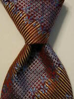 KLAUSS BOEHLER Mens 100%Silk Necktie ITALY Luxury STRIPED Burgundy/Blue EUC Rare