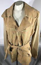 Vintage Ladies Tan Leather Suede Knit Sleeve Jacket Size Large