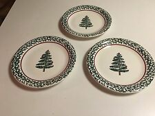 FURIO GREEN, SPONGED RIM & TREE, RED BAND - MADE IN ITALY- 3 DINNER PLATES TOTAL