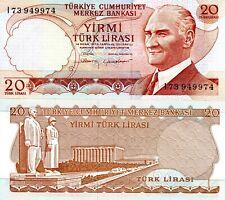 Turkey 20 Lirasi Banknote World Paper Money Unc Currency p187b 1970 Ataturk Bill