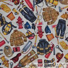 BonEful Fabric FQ Cotton Quilt US FIRE Truck Man House VTG Hat Boot Coat Hydrant