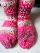 Hand knitted cozy and warm wool/soy blend socks, natural geranium