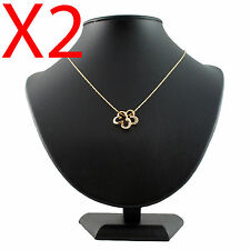 X2 Leather XL black Necklace pendant bust showcase jewellery display stand