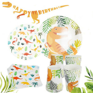 Party Tableware Disposable Paper Jurassic Dinosaur Theme Kids Birthday Decor-NEW