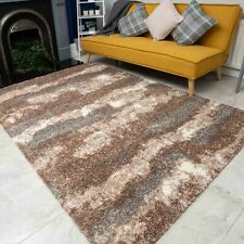 Beige Grey Living Room Rugs | Shaggy Deep Pile Extra Large Bedroom Area Mat New