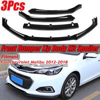 Front Bumper Diffuser Lip Spoiler Gloss Black For Chevrolet Malibu