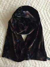 Valerie Stevens~Macy's~Scarf~Velvet~Silk Blend~Oblong~Brown~Floral Design~Lined
