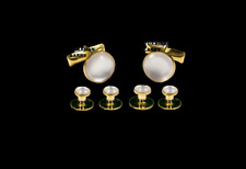 NEW Gold Pearl White Tuxedo Cuff links Shirt 4 Studs Formal Set Tux TUXXMAN