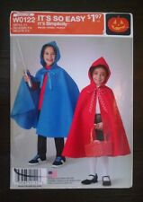 Simplicity Pattern Childs Cape Costume Little Red Riding Hood Jedi S-L 3-8 Uncut